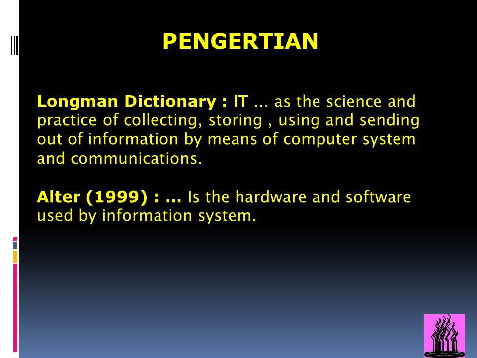 6 TEKNOLOGI INFORMASI - Paperless administration - Electronic mail - Diskette/CD/Hard disc filing - Teleconference - Desktop publication - Online library - Internet Service - E- Governance Penerapan cara-cara, pengumpulan, perolehan, pencatatan, pemrosesan, penyimpanan, pendistribusian, penyebaran, penyampaian informasi baik dalam bentuk angka, huruf, gambar, suara dengan alat elektronik berdasarkan kombinasi antara penghitungan (computing) dgn komunikasi jarak jauh (telecommunication) :