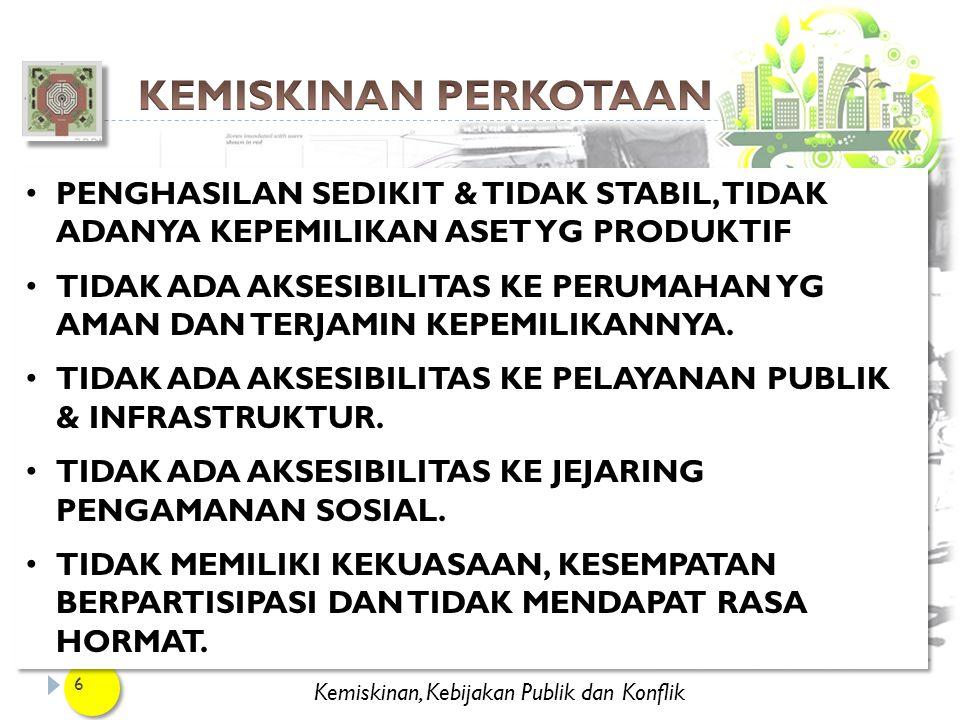Kemiskinan, Kebijakan Publik dan Konflik 17 3) PEMUKIMAN KEMBALI (RELOCATION) DIPERLUKAN APABILAPERMUKIMAN KUMUH BERADA DI : KAWASAN YG BERBAHAYA (DEKAT REL KERETA API, RAWAN LONGSOR, dsb).