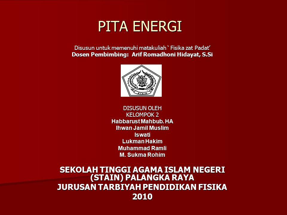 PITA ENERGI Disusun untuk memenuhi matakuliah ' Fisika zat Padat' Dosen Pembimbing: Arif Romadhoni Hidayat, S.Si DISUSUN OLEH KELOMPOK 2 Habbarust Mah