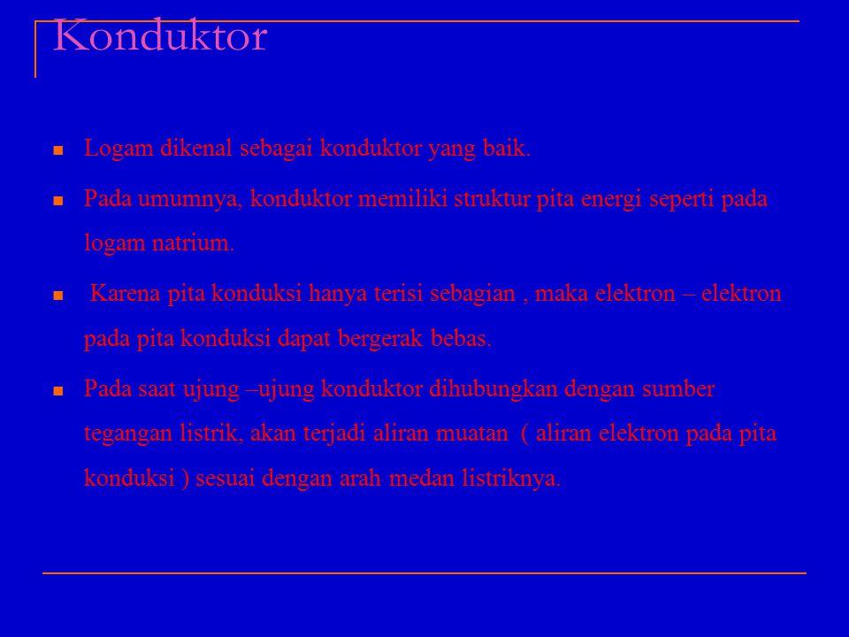 Konduktor Logam dikenal sebagai konduktor yang baik. Pada umumnya, konduktor memiliki struktur pita energi seperti pada logam natrium. Karena pita kon