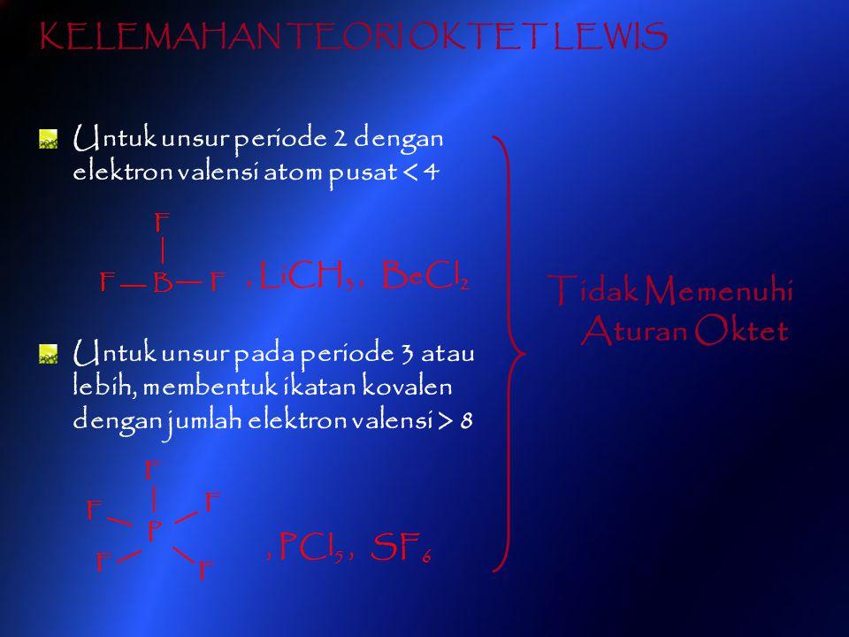 Untuk unsur periode 2 dengan elektron valensi atom pusat < 4, LiCH 3, BeCl 2 Untuk unsur pada periode 3 atau lebih, membentuk ikatan kovalen dengan ju