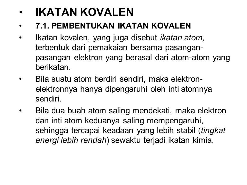 IKATAN KOVALEN 7.1. PEMBENTUKAN IKATAN KOVALEN Ikatan kovalen, yang juga disebut ikatan atom, terbentuk dari pemakaian bersama pasangan- pasangan elek