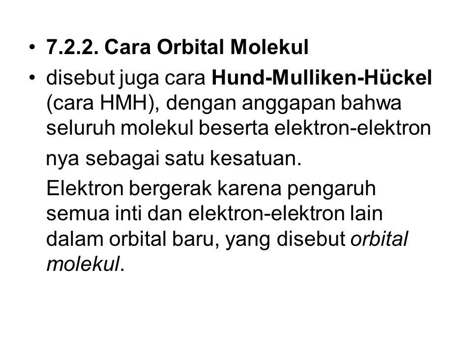 7.2.2. Cara Orbital Molekul disebut juga cara Hund-Mulliken-Hückel (cara HMH), dengan anggapan bahwa seluruh molekul beserta elektron-elektron nya seb