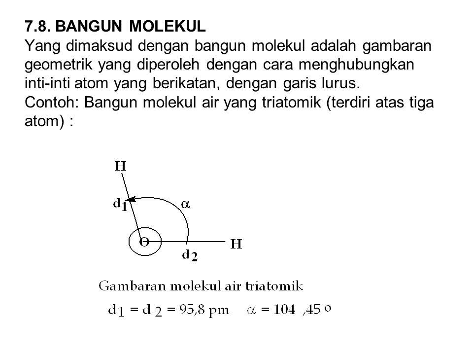 7.8. BANGUN MOLEKUL Yang dimaksud dengan bangun molekul adalah gambaran geometrik yang diperoleh dengan cara menghubungkan inti-inti atom yang berikat