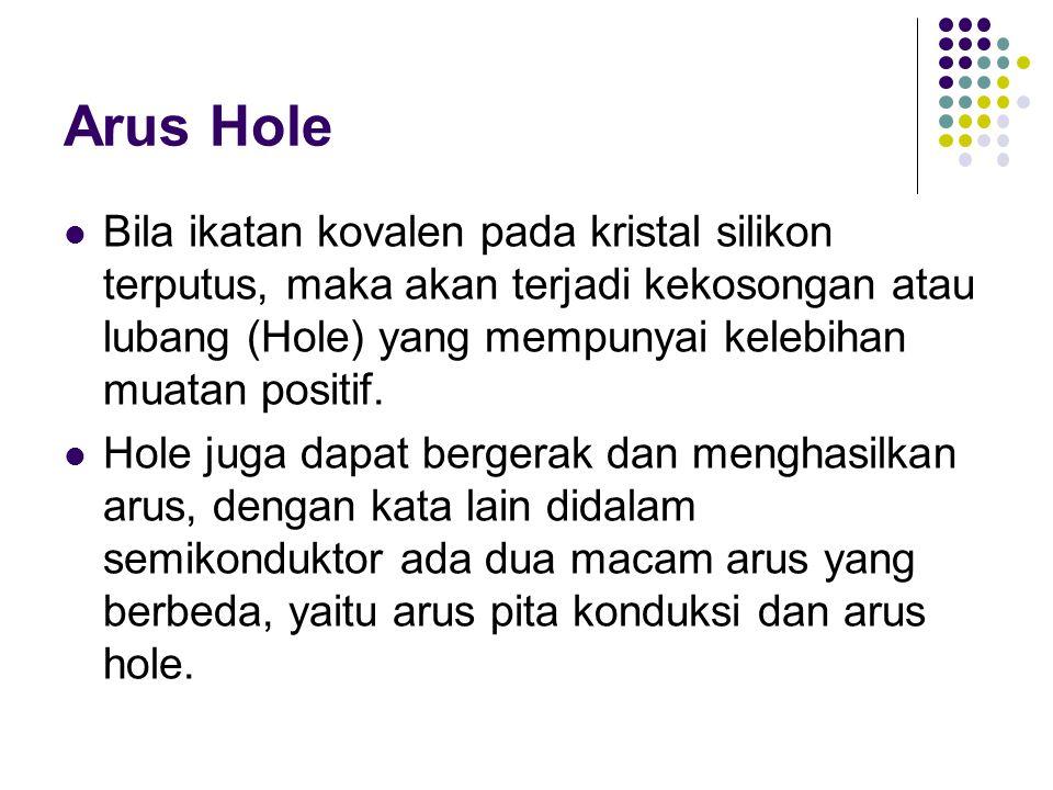 Arus Hole Bila ikatan kovalen pada kristal silikon terputus, maka akan terjadi kekosongan atau lubang (Hole) yang mempunyai kelebihan muatan positif.