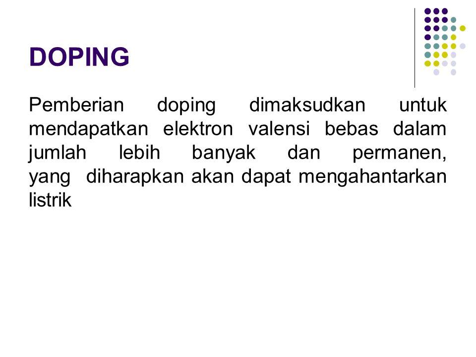 DOPING Pemberian doping dimaksudkan untuk mendapatkan elektron valensi bebas dalam jumlah lebih banyak dan permanen, yang diharapkan akan dapat mengah