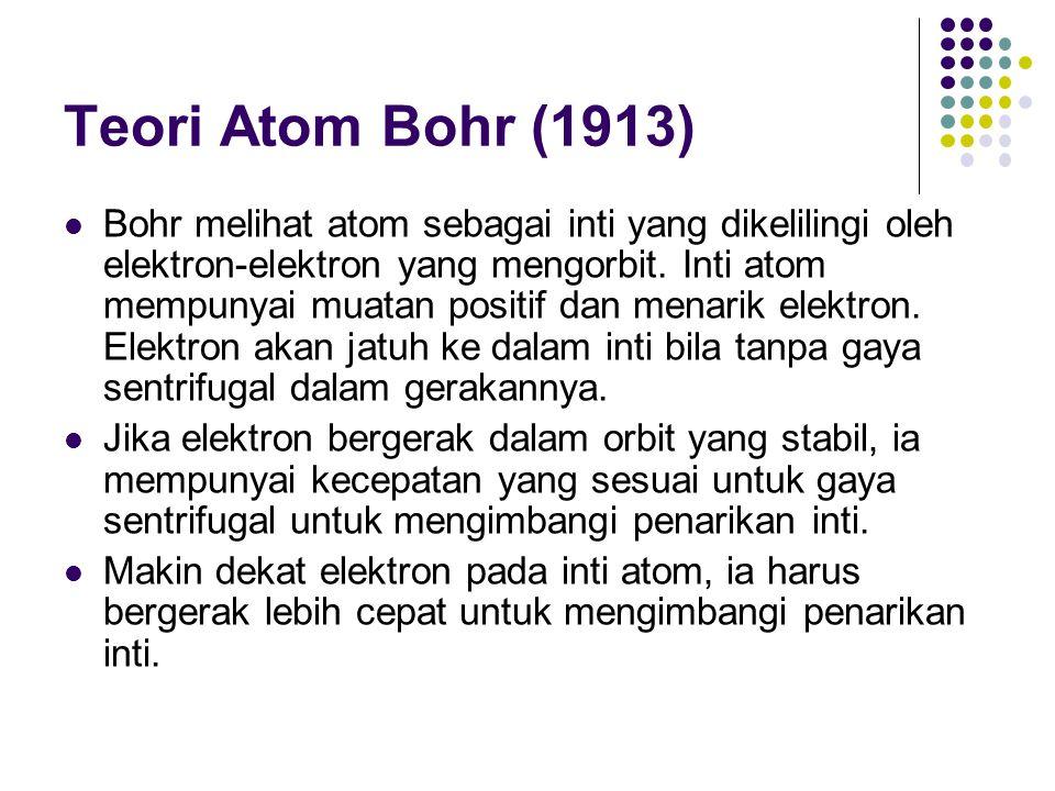 Teori Atom Bohr (1913) Bohr melihat atom sebagai inti yang dikelilingi oleh elektron-elektron yang mengorbit. Inti atom mempunyai muatan positif dan m