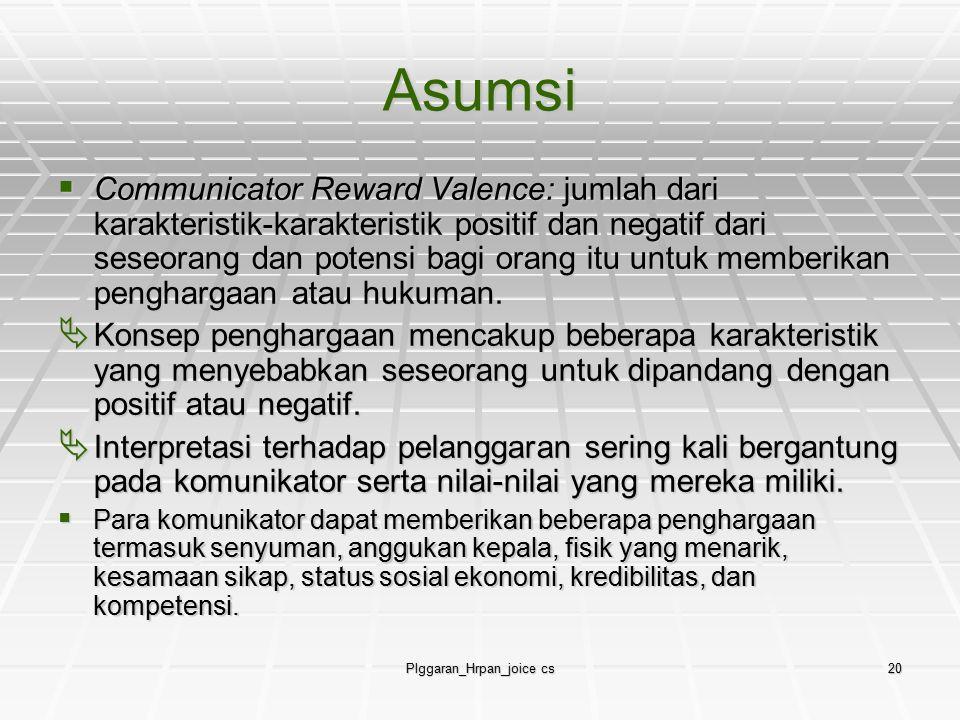 Plggaran_Hrpan_joice cs20 Asumsi  Communicator Reward Valence: jumlah dari karakteristik-karakteristik positif dan negatif dari seseorang dan potensi