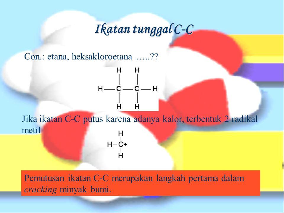 Ikatan Kovalen Polar Contoh: ikatan kovalen yang terjadi antara atom C dan F F lebih elektronegatif dibanding C, sehingga pasangan elektron lebih tertarik ke arah F.