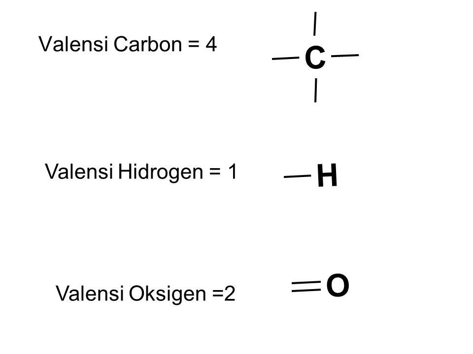 C Valensi Carbon = 4 Valensi Hidrogen = 1 H Valensi Oksigen =2 O