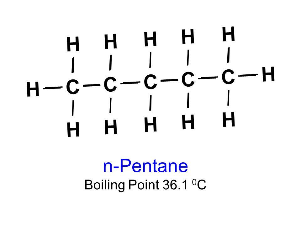 C C C C C H H H H H H H H H H H H n-Pentane Boiling Point 36.1 0 C