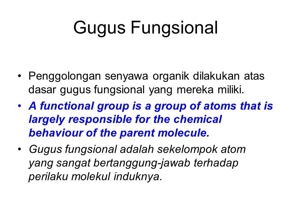 Gugus Fungsional Penggolongan senyawa organik dilakukan atas dasar gugus fungsional yang mereka miliki. A functional group is a group of atoms that is