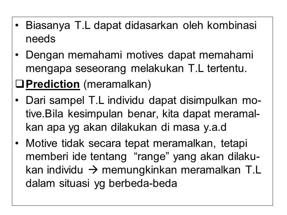 Biasanya T.L dapat didasarkan oleh kombinasi needs Dengan memahami motives dapat memahami mengapa seseorang melakukan T.L tertentu.  Prediction (mera
