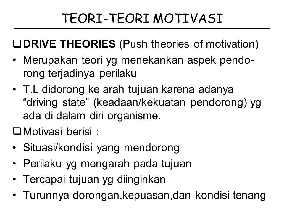 TEORI-TEORI MOTIVASI  DRIVE THEORIES (Push theories of motivation) Merupakan teori yg menekankan aspek pendo- rong terjadinya perilaku T.L didorong k