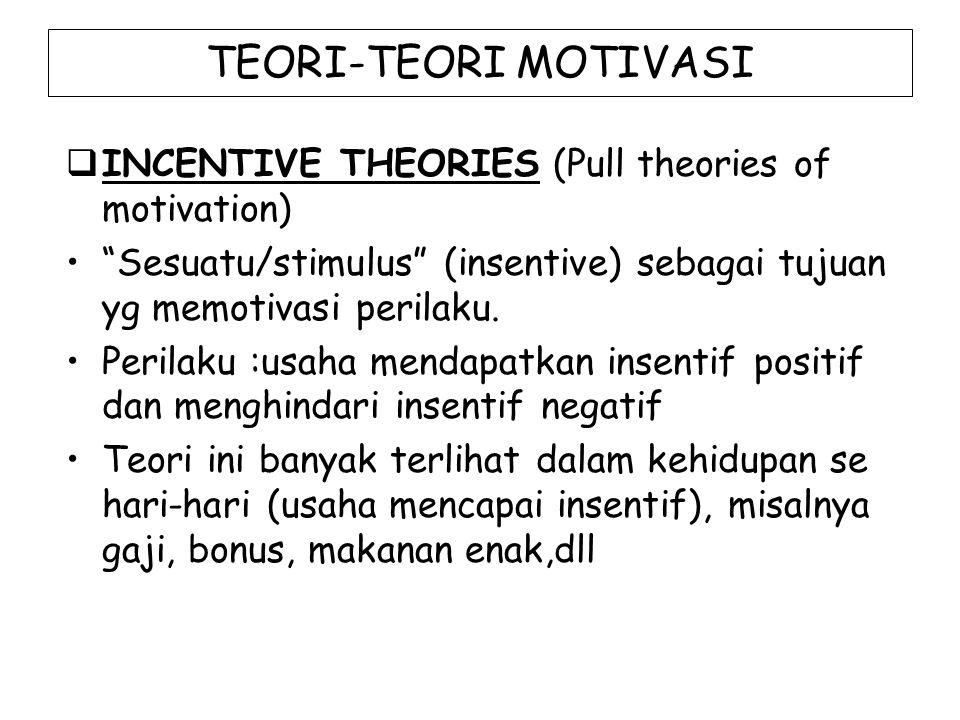 "TEORI-TEORI MOTIVASI  INCENTIVE THEORIES (Pull theories of motivation) ""Sesuatu/stimulus"" (insentive) sebagai tujuan yg memotivasi perilaku. Perilaku"