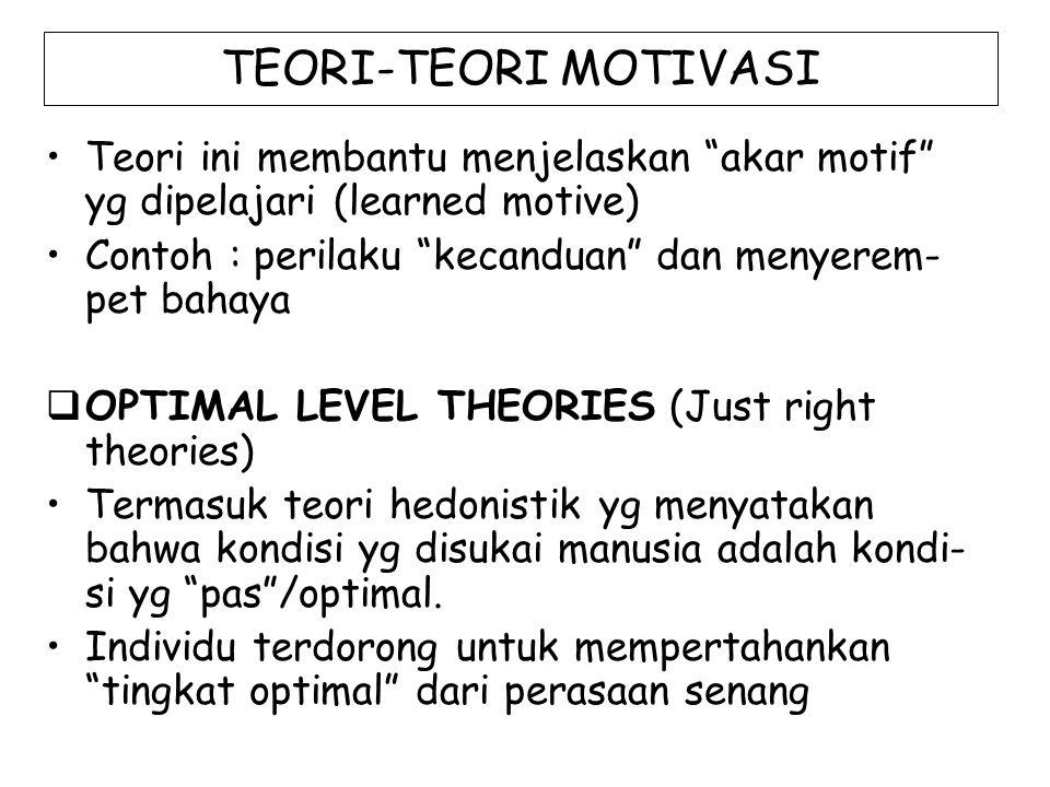 "TEORI-TEORI MOTIVASI Teori ini membantu menjelaskan ""akar motif"" yg dipelajari (learned motive) Contoh : perilaku ""kecanduan"" dan menyerem- pet bahaya"