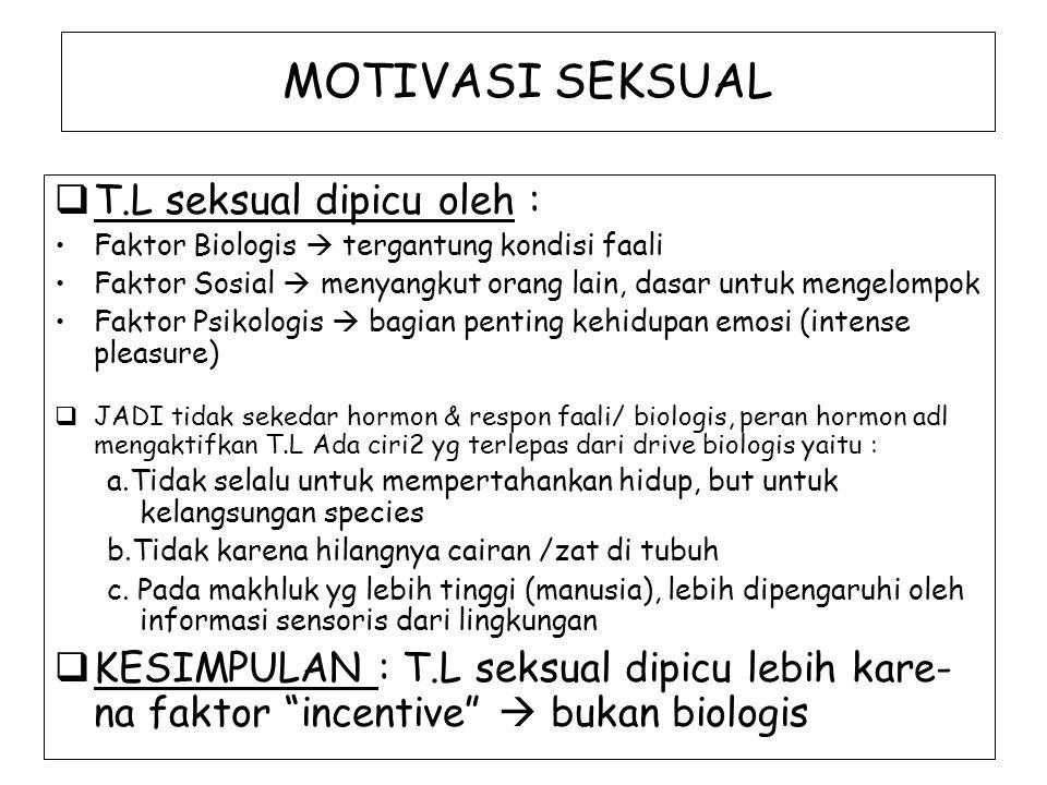 MOTIVASI SEKSUAL  T.L seksual dipicu oleh : Faktor Biologis  tergantung kondisi faali Faktor Sosial  menyangkut orang lain, dasar untuk mengelompok