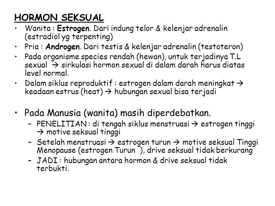 HORMON SEKSUAL Wanita : Estrogen. Dari indung telor & kelenjar adrenalin (estradiol yg terpenting) Pria : Androgen. Dari testis & kelenjar adrenalin (