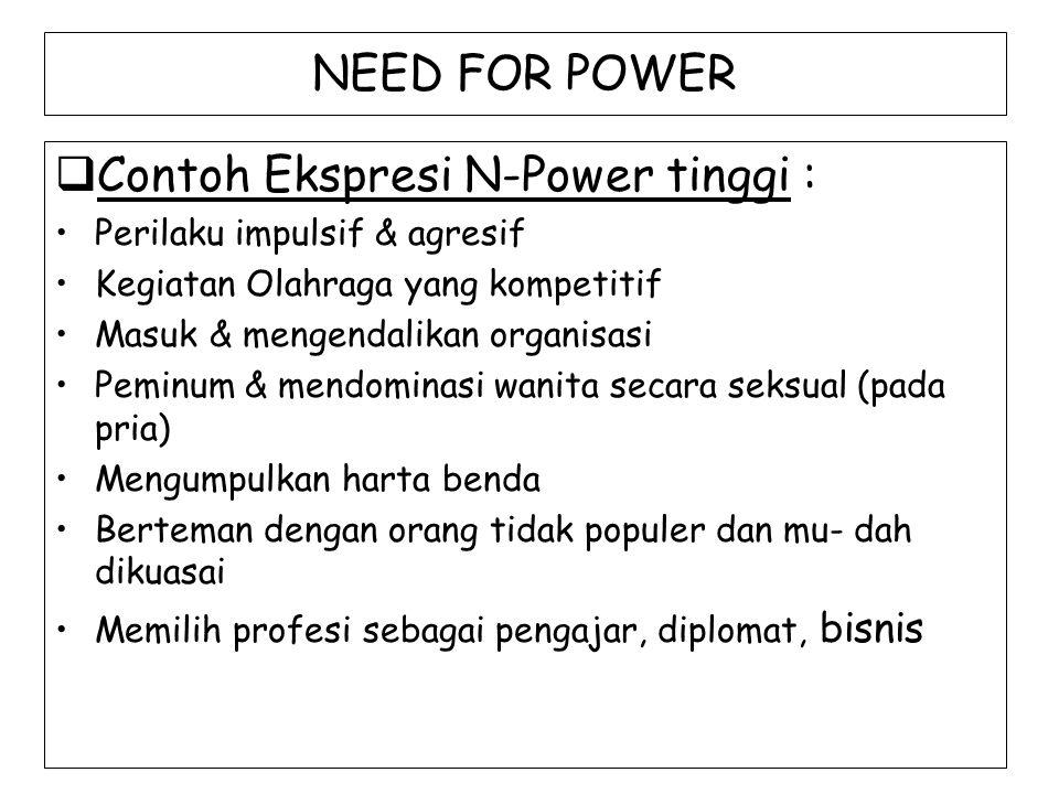NEED FOR POWER  Contoh Ekspresi N-Power tinggi : Perilaku impulsif & agresif Kegiatan Olahraga yang kompetitif Masuk & mengendalikan organisasi Pemin