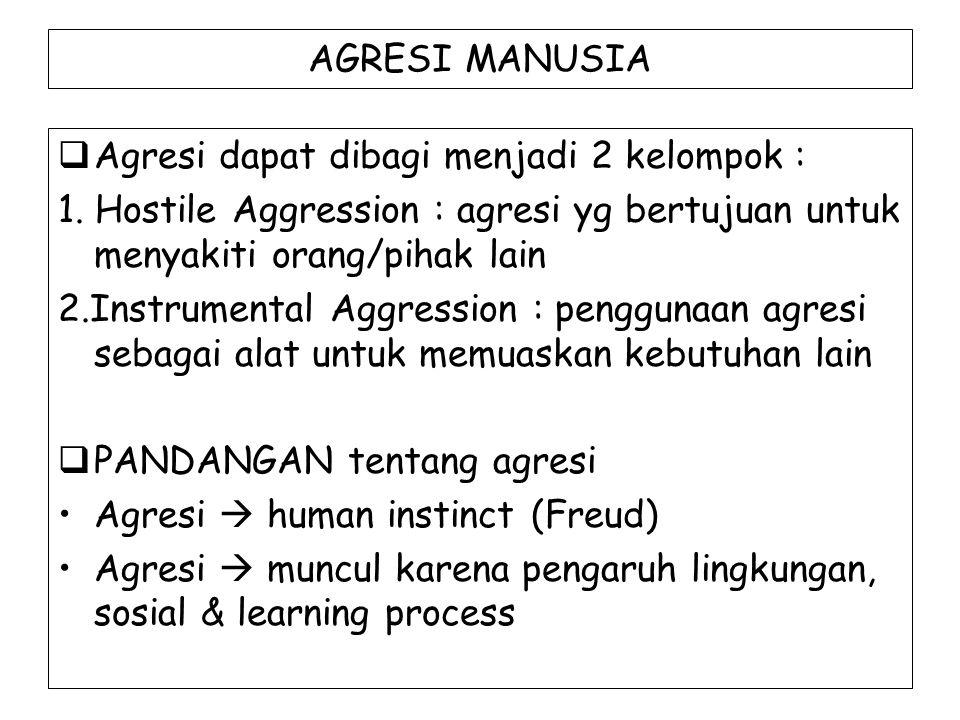 AGRESI MANUSIA  Agresi dapat dibagi menjadi 2 kelompok : 1. Hostile Aggression : agresi yg bertujuan untuk menyakiti orang/pihak lain 2.Instrumental