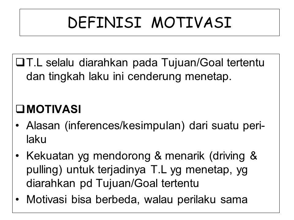 DEFINISI MOTIVASI  T.L selalu diarahkan pada Tujuan/Goal tertentu dan tingkah laku ini cenderung menetap.  MOTIVASI Alasan (inferences/kesimpulan) d