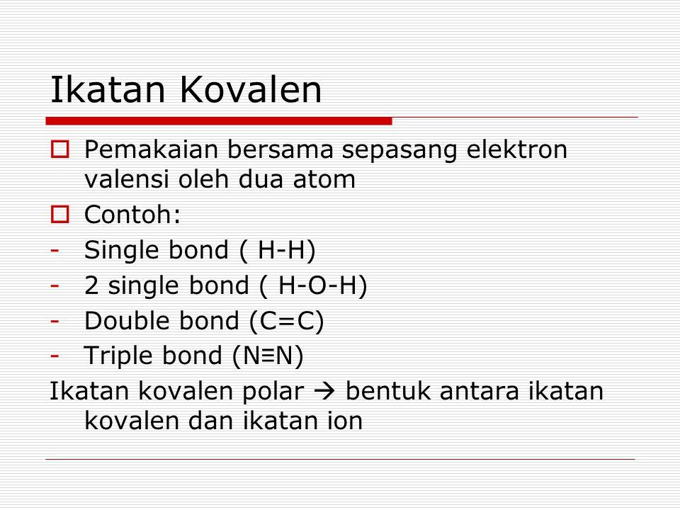 Ikatan Kovalen  Pemakaian bersama sepasang elektron valensi oleh dua atom  Contoh: -Single bond ( H-H) -2 single bond ( H-O-H) -Double bond (C=C) -T