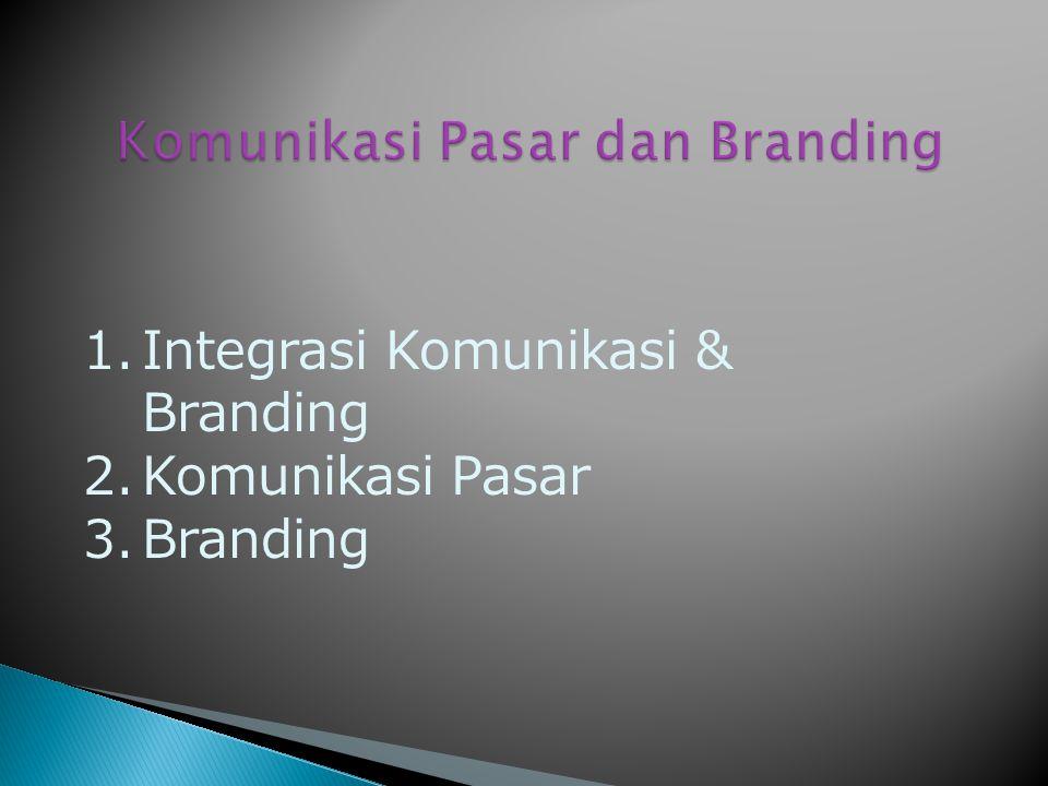 1. Integrasi Komunikasi & Branding 2. Komunikasi Pasar 3. Branding