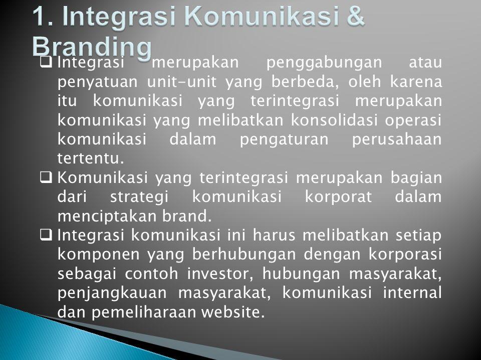  Integrasi merupakan penggabungan atau penyatuan unit-unit yang berbeda, oleh karena itu komunikasi yang terintegrasi merupakan komunikasi yang melibatkan konsolidasi operasi komunikasi dalam pengaturan perusahaan tertentu.