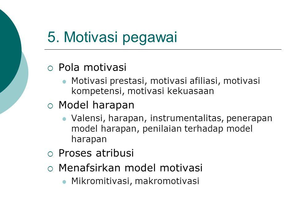 5. Motivasi pegawai  Pola motivasi Motivasi prestasi, motivasi afiliasi, motivasi kompetensi, motivasi kekuasaan  Model harapan Valensi, harapan, in