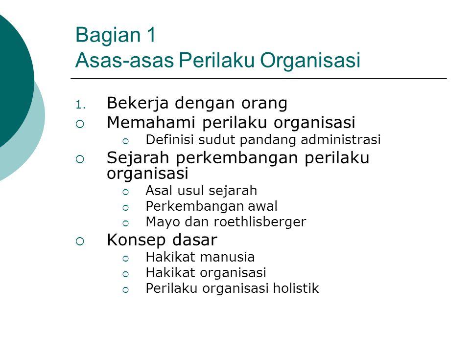 Bagian 1 Asas-asas Perilaku Organisasi 1. Bekerja dengan orang  Memahami perilaku organisasi  Definisi sudut pandang administrasi  Sejarah perkemba