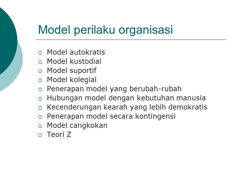 Model perilaku organisasi  Model autokratis  Model kustodial  Model suportif  Model kolegial  Penerapan model yang berubah-rubah  Hubungan model