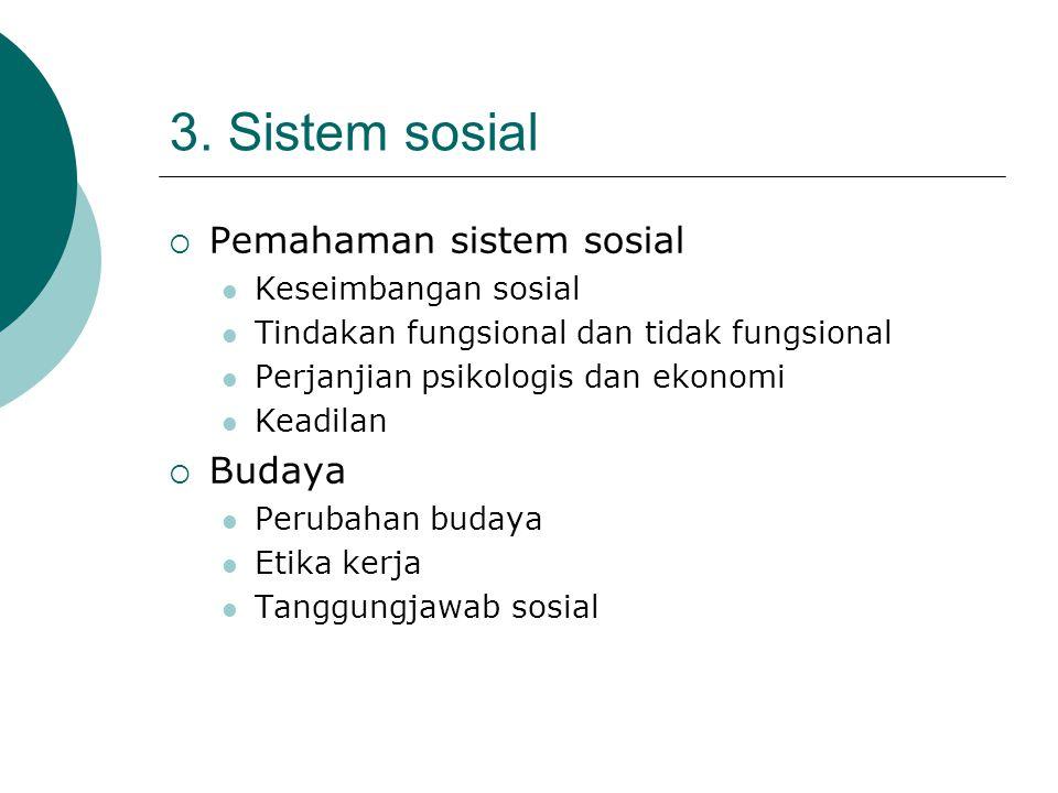 3. Sistem sosial  Pemahaman sistem sosial Keseimbangan sosial Tindakan fungsional dan tidak fungsional Perjanjian psikologis dan ekonomi Keadilan  B