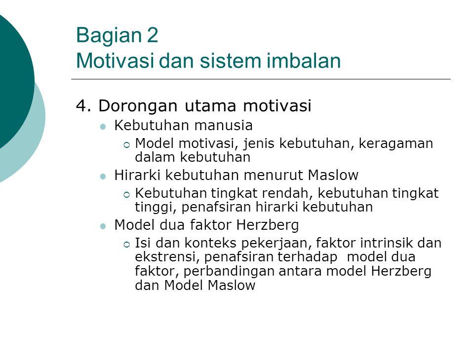Bagian 2 Motivasi dan sistem imbalan 4. Dorongan utama motivasi Kebutuhan manusia  Model motivasi, jenis kebutuhan, keragaman dalam kebutuhan Hirarki