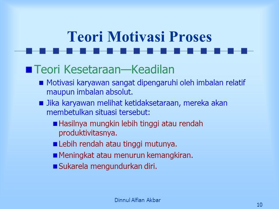 Dinnul Alfian Akbar 10 Teori Motivasi Proses Teori Kesetaraan—Keadilan Motivasi karyawan sangat dipengaruhi oleh imbalan relatif maupun imbalan absolu