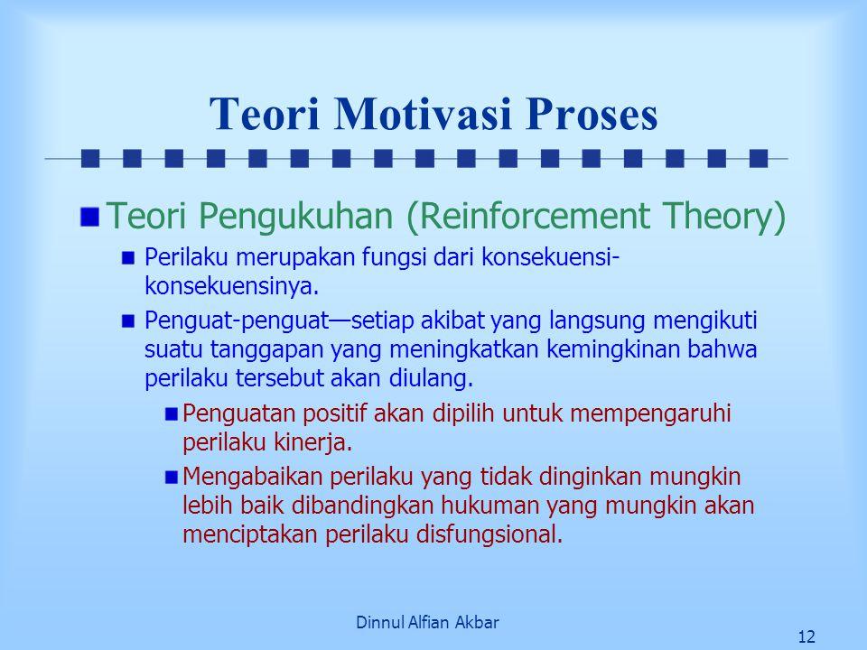 Dinnul Alfian Akbar 12 Teori Motivasi Proses Teori Pengukuhan (Reinforcement Theory) Perilaku merupakan fungsi dari konsekuensi- konsekuensinya. Pengu