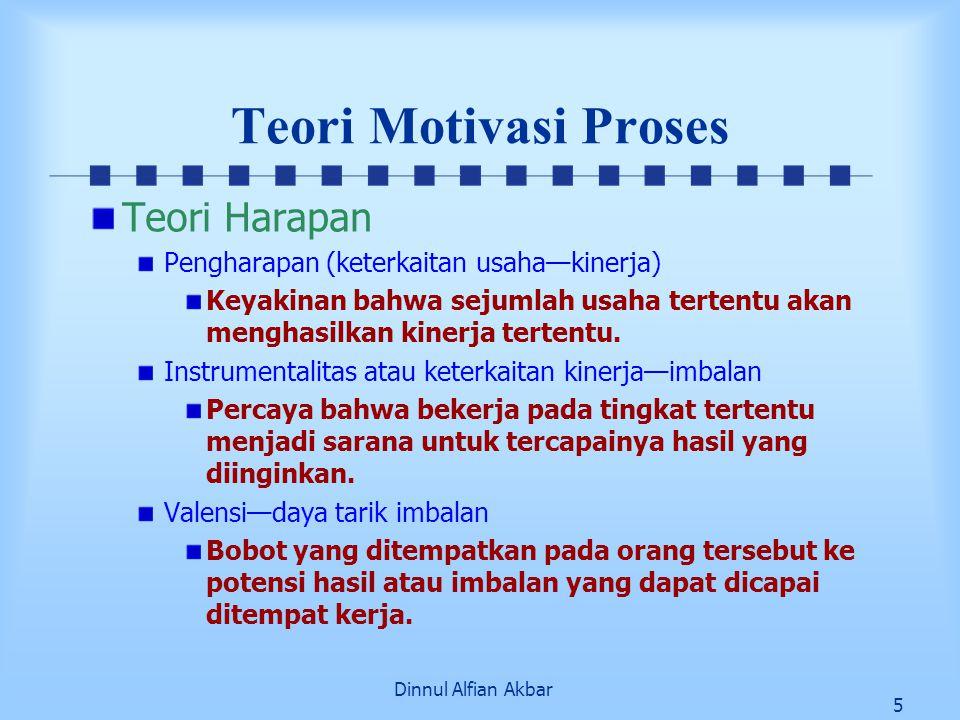 Dinnul Alfian Akbar 5 Teori Motivasi Proses Teori Harapan Pengharapan (keterkaitan usaha—kinerja) Keyakinan bahwa sejumlah usaha tertentu akan menghas