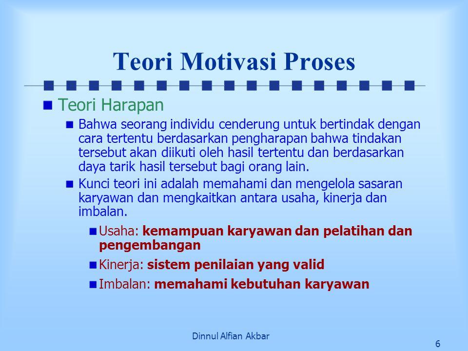 Dinnul Alfian Akbar 6 Teori Motivasi Proses Teori Harapan Bahwa seorang individu cenderung untuk bertindak dengan cara tertentu berdasarkan pengharapa