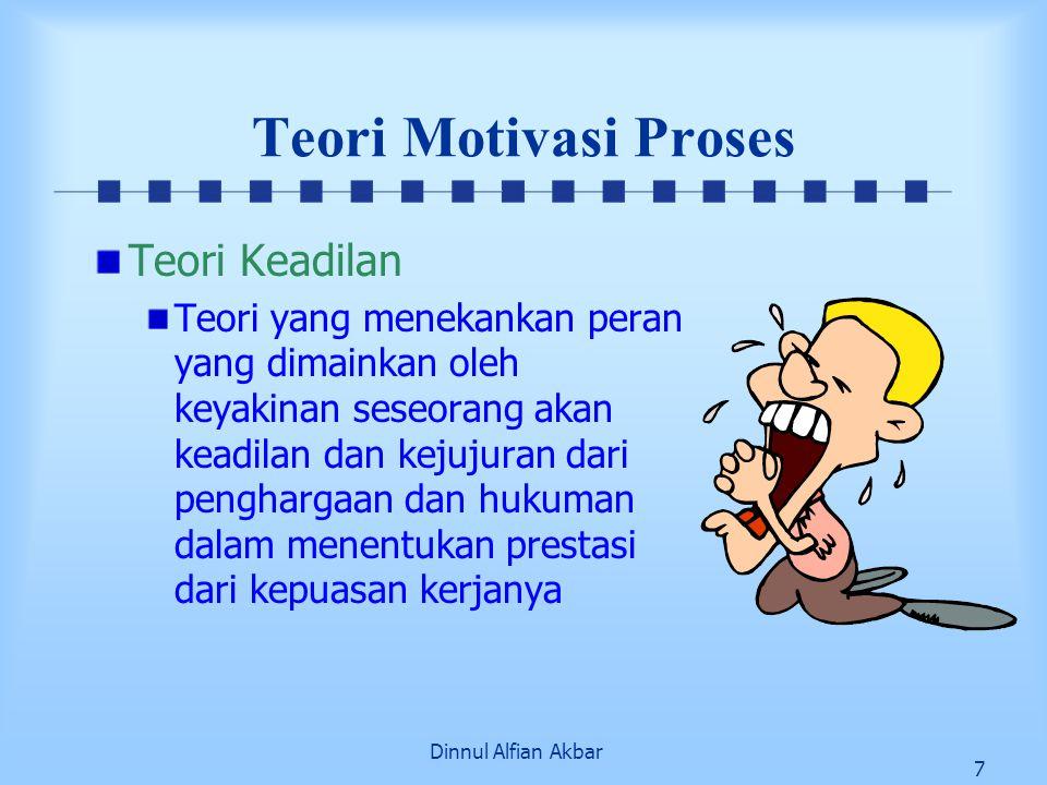 Dinnul Alfian Akbar 7 Teori Motivasi Proses Teori Keadilan Teori yang menekankan peran yang dimainkan oleh keyakinan seseorang akan keadilan dan kejuj