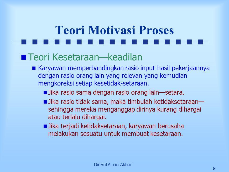 Dinnul Alfian Akbar 8 Teori Motivasi Proses Teori Kesetaraan—keadilan Karyawan memperbandingkan rasio input-hasil pekerjaannya dengan rasio orang lain