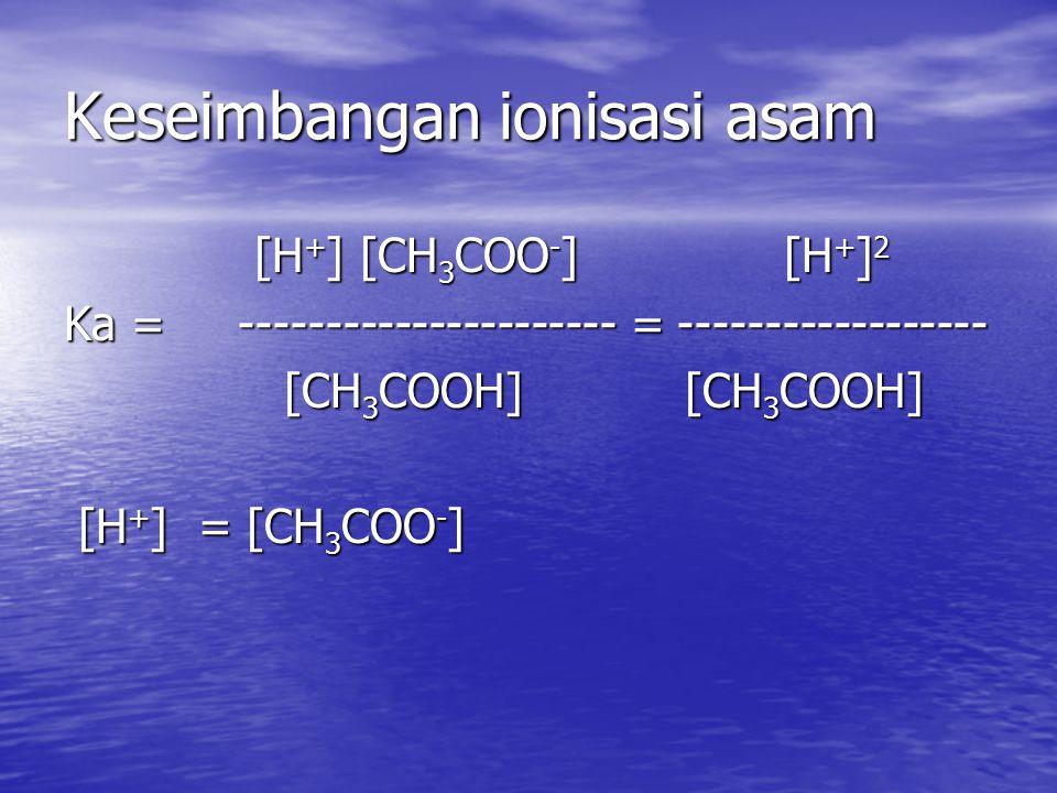 Keseimbangan ionisasi asam [H + ] [CH 3 COO - ] [H + ] 2 [H + ] [CH 3 COO - ] [H + ] 2 Ka = ---------------------- = ------------------ [CH 3 COOH] [CH 3 COOH] [CH 3 COOH] [CH 3 COOH] [H + ] = [CH 3 COO - ] [H + ] = [CH 3 COO - ]