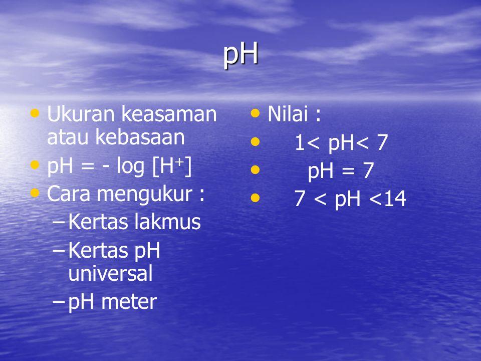 pH Ukuran keasaman atau kebasaan pH = - log [H + ] Cara mengukur : – –Kertas lakmus – –Kertas pH universal – –pH meter Nilai : 1< pH< 7 pH = 7 7 < pH <14