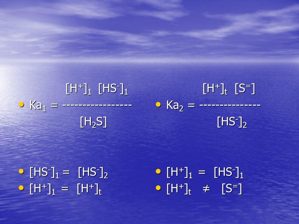 [H + ] 1 [HS - ] 1 [H + ] 1 [HS - ] 1 Ka 1 = ----------------- Ka 1 = ----------------- [H 2 S] [H 2 S] [HS - ] 1 = [HS - ] 2 [HS - ] 1 = [HS - ] 2 [H + ] 1 = [H + ] t [H + ] 1 = [H + ] t [H + ] t [S = ] [H + ] t [S = ] Ka 2 = --------------- Ka 2 = --------------- [HS - ] 2 [HS - ] 2 [H + ] 1 = [HS - ] 1 [H + ] 1 = [HS - ] 1 [H + ] t ≠ [S = ] [H + ] t ≠ [S = ]