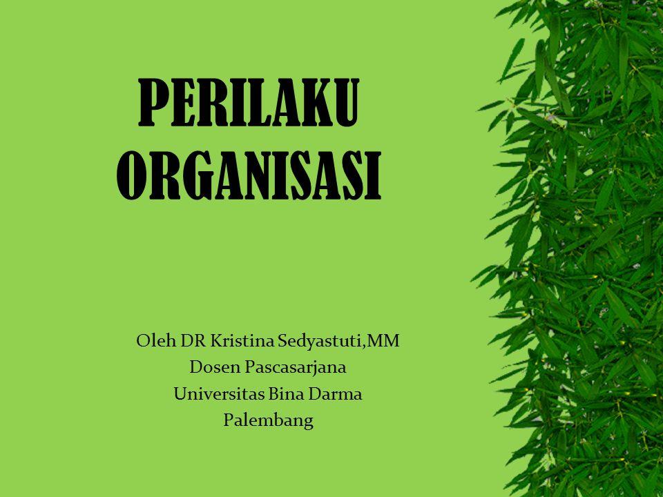 PERILAKU ORGANISASI Oleh DR Kristina Sedyastuti,MM Dosen Pascasarjana Universitas Bina Darma Palembang