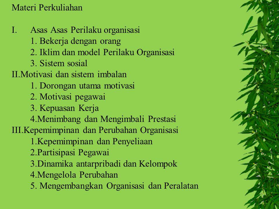Materi Perkuliahan I.Asas Asas Perilaku organisasi 1. Bekerja dengan orang 2. Iklim dan model Perilaku Organisasi 3. Sistem sosial II.Motivasi dan sis