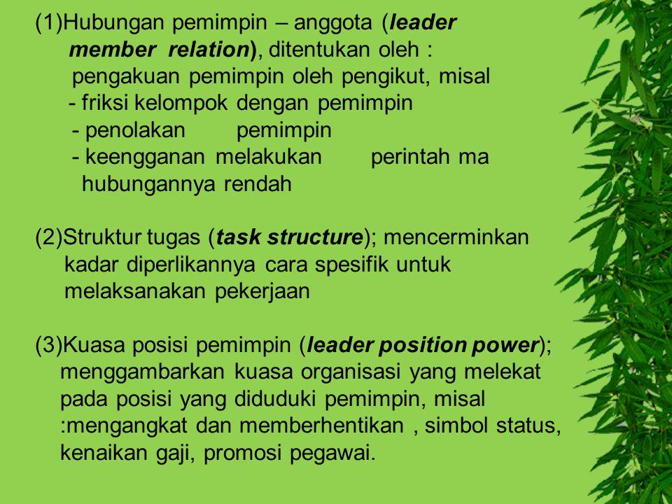 (1)Hubungan pemimpin – anggota (leader member relation), ditentukan oleh : pengakuan pemimpin oleh pengikut, misal - friksi kelompok dengan pemimpin -