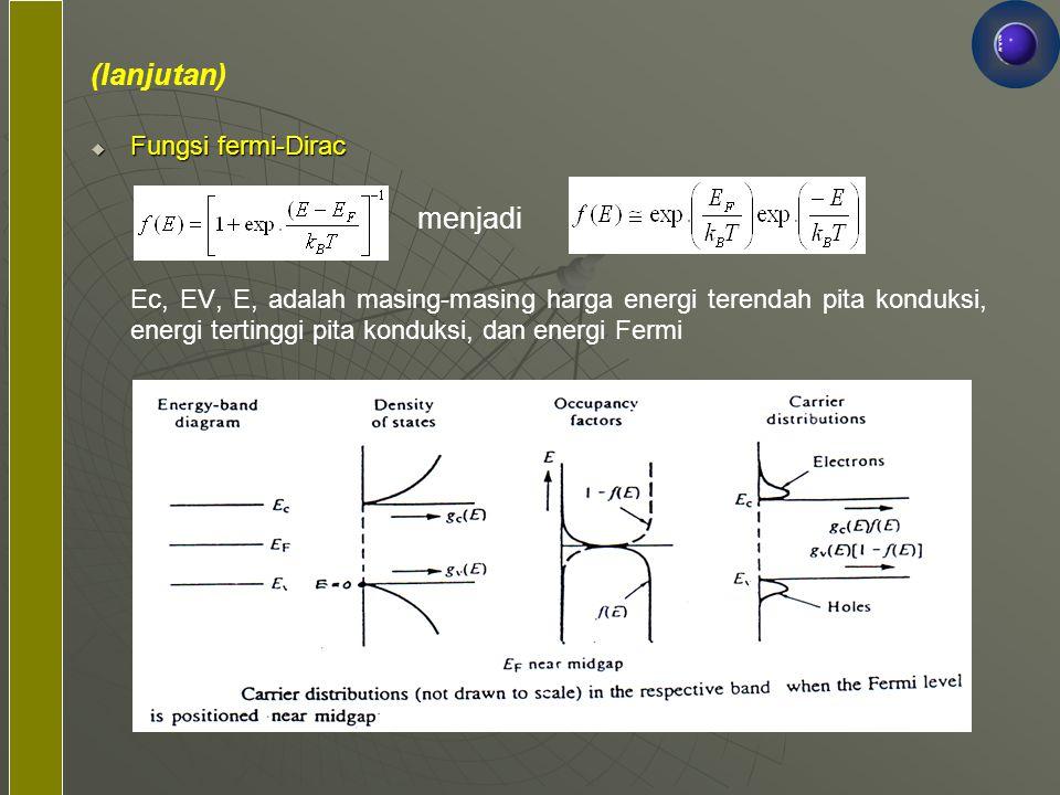 (lanjutan)  Fungsi fermi-Dirac Ec, EV, E, adalah masing-masing harga energi terendah pita konduksi, energi tertinggi pita konduksi, dan energi Fermi