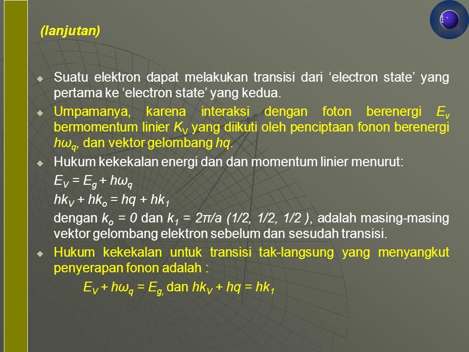   Suatu elektron dapat melakukan transisi dari 'electron state' yang pertama ke 'electron state' yang kedua.   Umpamanya, karena interaksi dengan