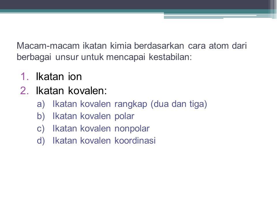 Macam-macam ikatan kimia berdasarkan cara atom dari berbagai unsur untuk mencapai kestabilan: 1.Ikatan ion 2.Ikatan kovalen: a)Ikatan kovalen rangkap (dua dan tiga) b)Ikatan kovalen polar c)Ikatan kovalen nonpolar d)Ikatan kovalen koordinasi