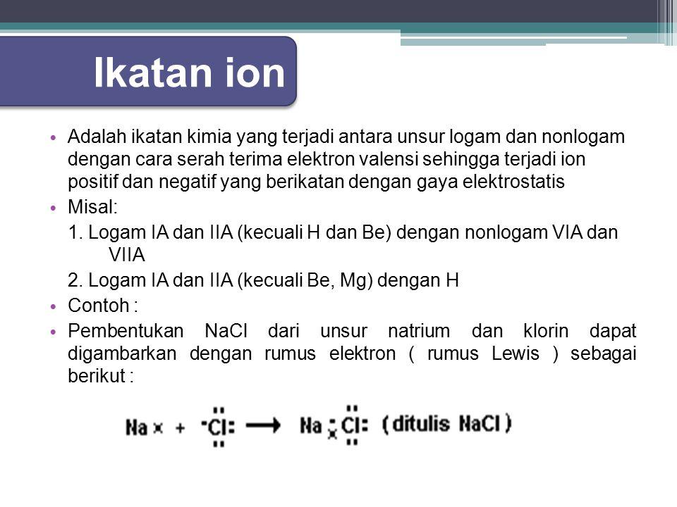 Ikatan ion Adalah ikatan kimia yang terjadi antara unsur logam dan nonlogam dengan cara serah terima elektron valensi sehingga terjadi ion positif dan negatif yang berikatan dengan gaya elektrostatis Misal: 1.