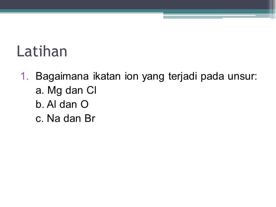 Latihan 1.Bagaimana ikatan ion yang terjadi pada unsur: a. Mg dan Cl b. Al dan O c. Na dan Br